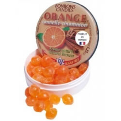 Bonbons ronds orange cannelle sans sucre