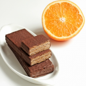 Galletas de Barquillo proteicas Chocolate negro y Naranja - Gaufrettes Choco-Orange