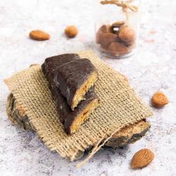 Substitut de repas barre érable, fruits et amandes enrobage chocolat