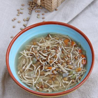 Sopa Con Pasta Hiperproteica Cabellos De Angel Con Lentejas